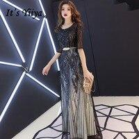 It's YiiYa Evening Dress Mysterious Shining Black Sequins Long Formal Gown Half Sleeve Back Zipper Design Party Dressses E104
