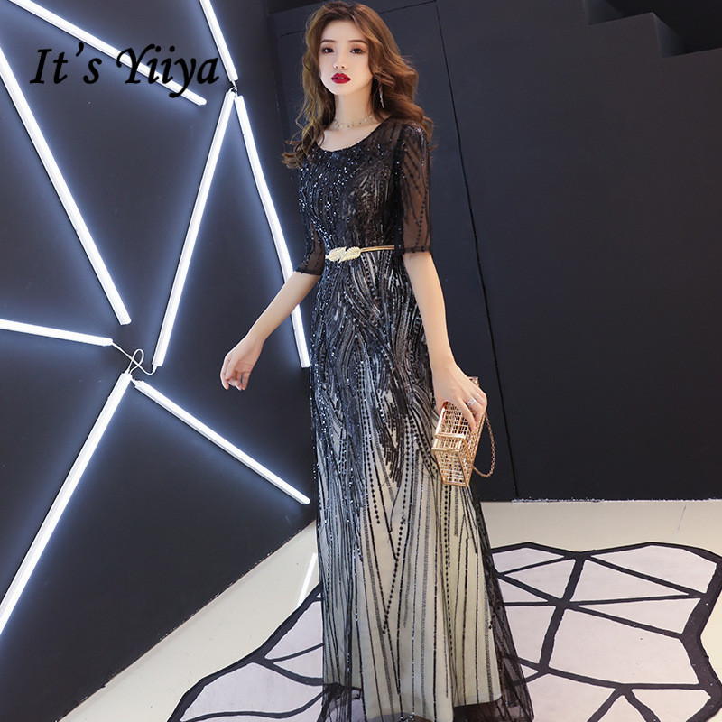 It's YiiYa   Evening     Dress   Mysterious Shining Black Sequins Long Formal Gown Half Sleeve Back Zipper Design Party Dressses E104