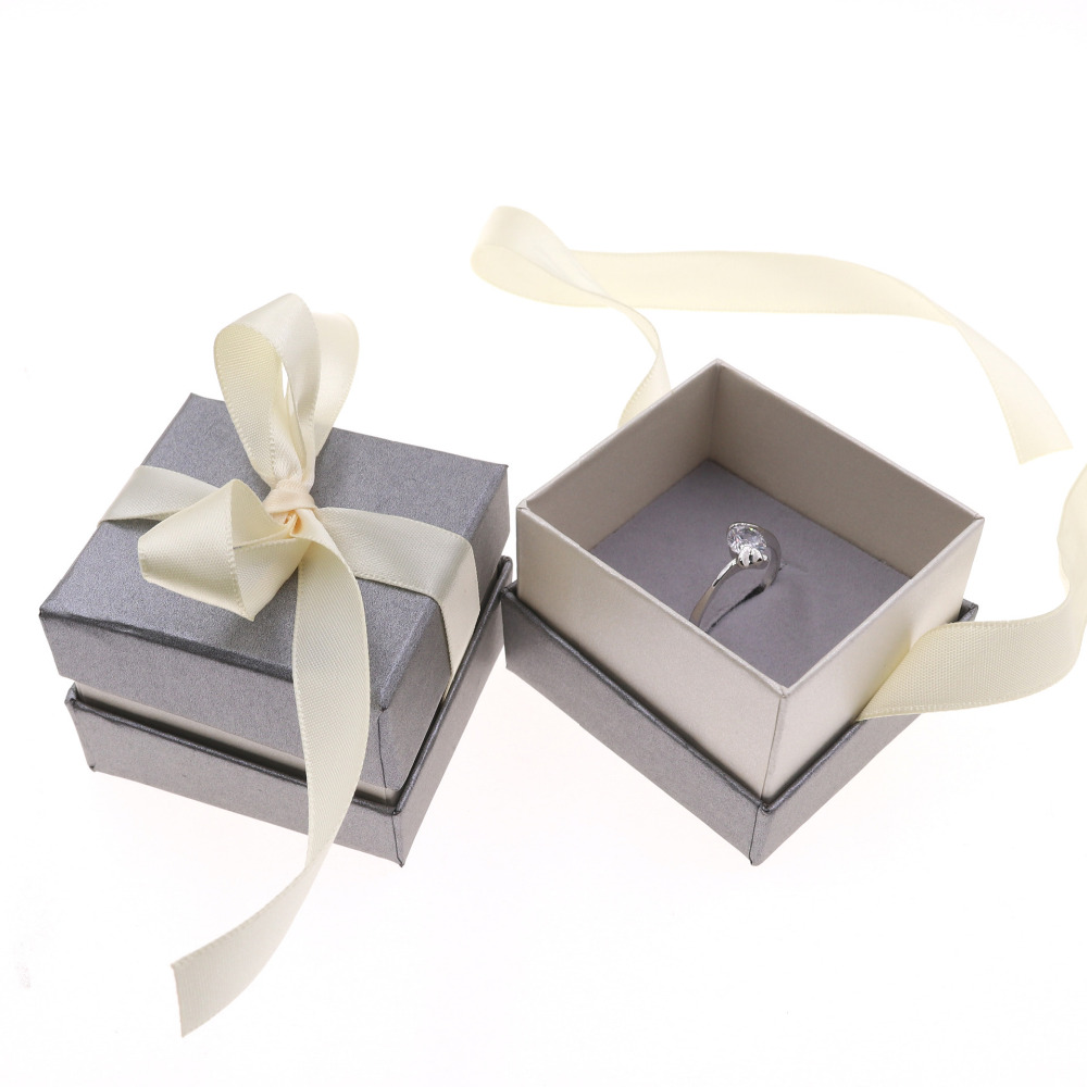 DoreenBeads Jewelry Boxes Paper Gray Color Beige Ribbon Bowknot For Gift Present Ring Earring Packing Display 5*5*4cm, 1 Piece