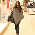 Women Casual Oversized Batwing wool Jacket Poncho winter Cloak loose Outwear HT