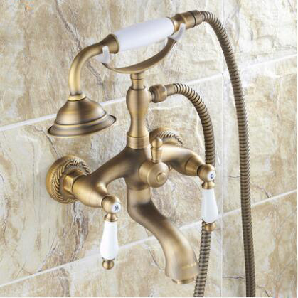 Antique Brushed Brass Bathroom Faucet Bath Faucet Mixer Tap Wall Mounted Hand Held Shower Head Kit Shower Faucet Sets SF1037Antique Brushed Brass Bathroom Faucet Bath Faucet Mixer Tap Wall Mounted Hand Held Shower Head Kit Shower Faucet Sets SF1037