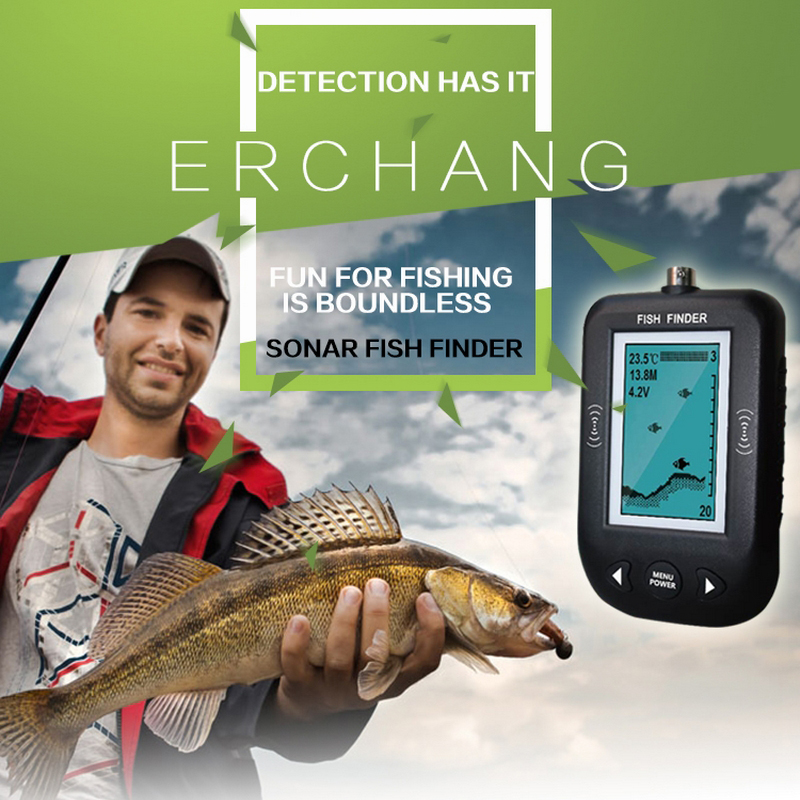 ФОТО Erchang Portable Fish Finder 100M Sonar Wired LED Fish depth Sounder Alarm Finder Waterproof 45 Degrees Fishing Equipment