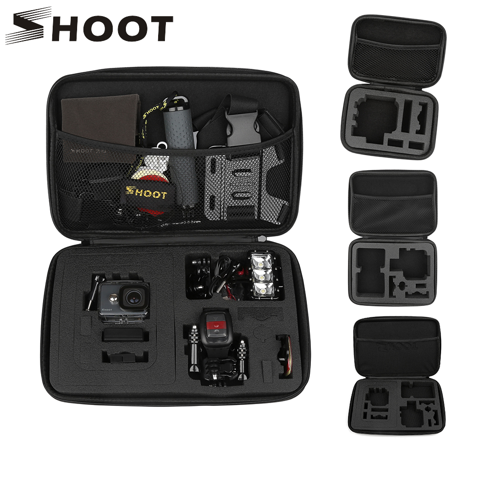 SHOOT Portable Eva Collection Box Camera Case For GoPro Hero 8 7 5 Black Xiaomi Yi 4K Eken H9r Sjcam M10 Go Pro Hero 7 Accessory