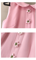 Vestido verano rosa corto sin mangas botón flor 5