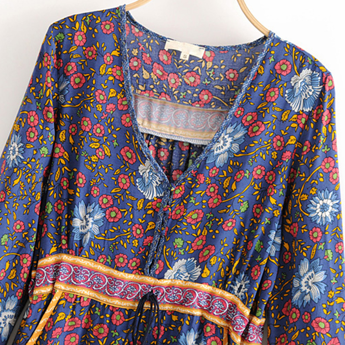 87503ddbe9 ... Boho Chic Vintage Floral Print Pockets Mini Dress Women 2019 Fashion V  Neck Summer Beach Holiday ...