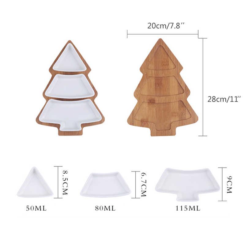 Рождественская елка керамические блюда деревянный поднос Snaks ваза для фруктов и орехов лоток вечерние украшения стола посуда набор для салата фрукты торт тарелка