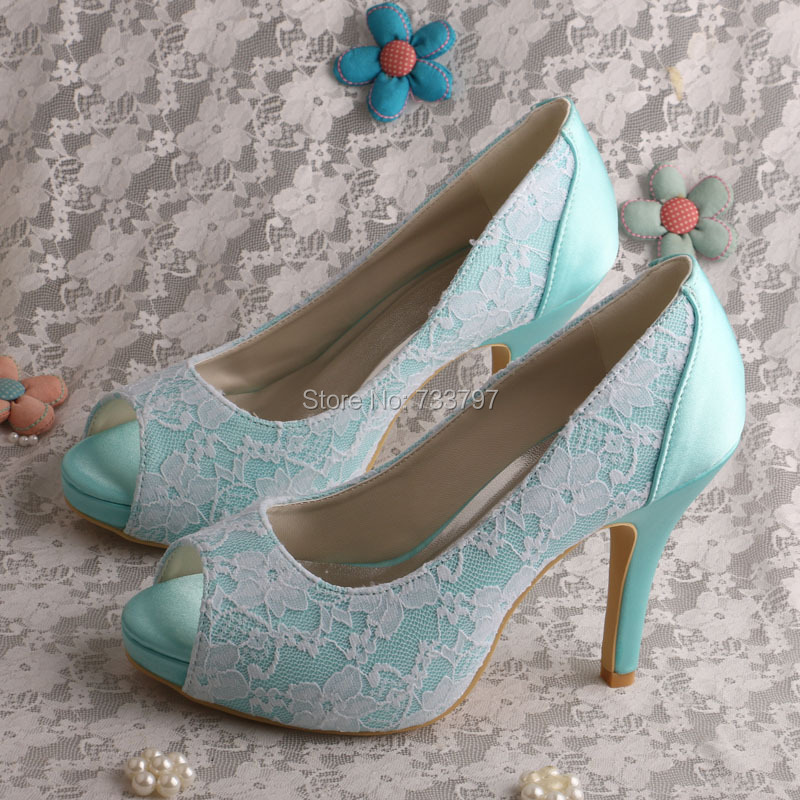 Wedopus Mint Green Platform High Heels Ladies Wedding Shoes Satin and Lace Dropship