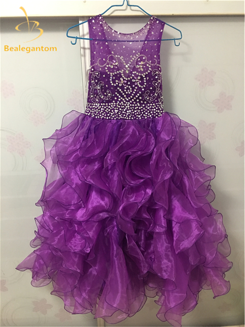 2019 Sweet Purple   Flower     Girls     Dresses   Organza Tiered Ruffles Shiny Sequins Kids Princess Pageant Gown Comunion   Dress   QA783