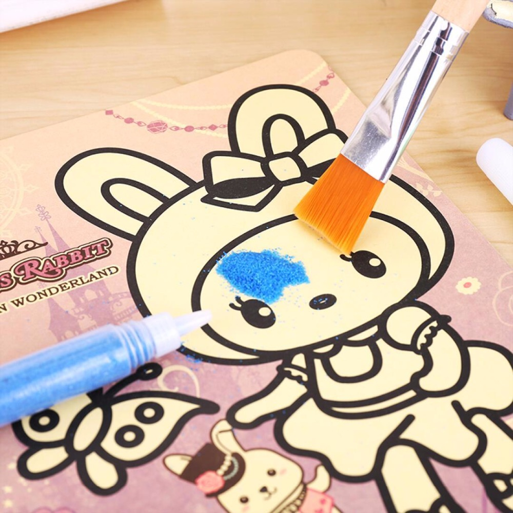 9Pcs/lot Kids DIY Sand Painting Toy Children Drawing Board Sets BubbleSand Handmade Picture Paper Craft Sand Draw Art