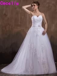 Новинка 2019 года ТРАПЕЦИЕВИДНОЕ длинное свадебное платье Милая бисером кружево аппликации цветы корсет сзади Страна Свадебные платья