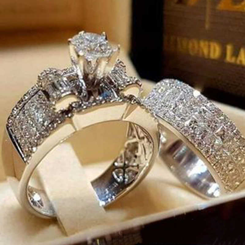 Modyle Luxury Crystal Female Zircon Wedding Ring Set Fashion Silver Color Bridal Sets Jewelry Engagement Rings For Woman