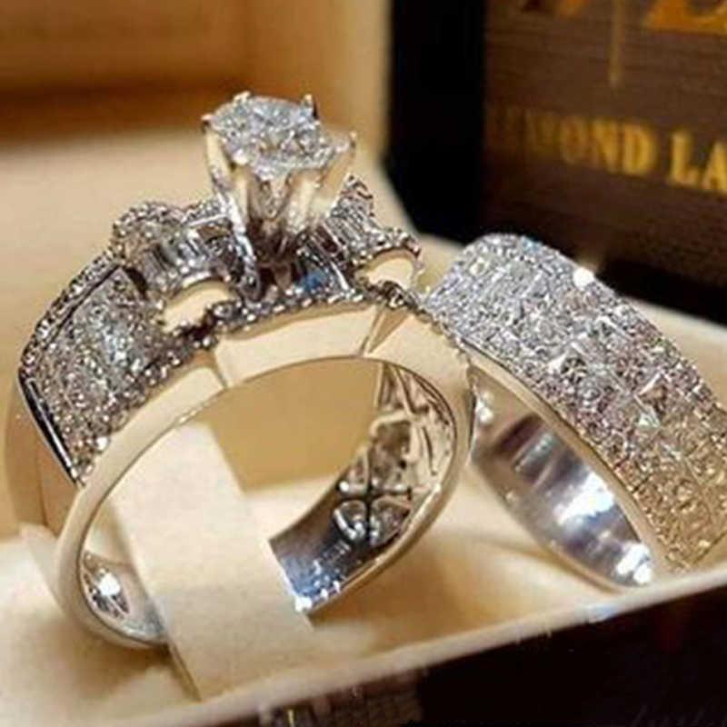 Modyle 高級クリスタル女性ジルコンウェディングリングセットファッションシルバー色ブライダルセットジュエリー婚約指輪女性のための