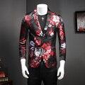 Nuevos Diseños de Los Hombres Floral Blazer Jacket Hombres Dress Slim Fit Hombre traje Trajes de la Etapa Para Cantantes Masculinos Abrigo Rojo Para Hombre Casual Blazer