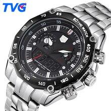 TVG Luxury Brand Men Sports Watches Quartz Analog LED Digital Watch Men Army Military Waterproof Wrist Watch Relogio Masculino