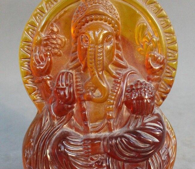Tibet Ambre homme Temple Ganapati Ganesh Seigneur Ganesha Éléphant Bouddha Statue