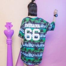 Fashion street plants color block stripe 66 letter medium-long plus size one-piece dress female HARAJUKU bf