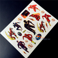 The Flash Man Anime Superheros Cartoon Tattoo Stickers Children BOdy Art Fake Tatoo Arm HCG-075 Kids Waterproof Tattoo Paste