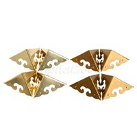 High Quality 4Pcs Corners Chinese Furniture Hardware Brass Antique Copper For Cabinet Trunk Jewelry Box Chest