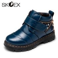 SKOEX Kids Winter Martin Boots Boys Leather Boots Children's Leather Cotton Shoes Big Child Plus Velvet Waterproof Boots