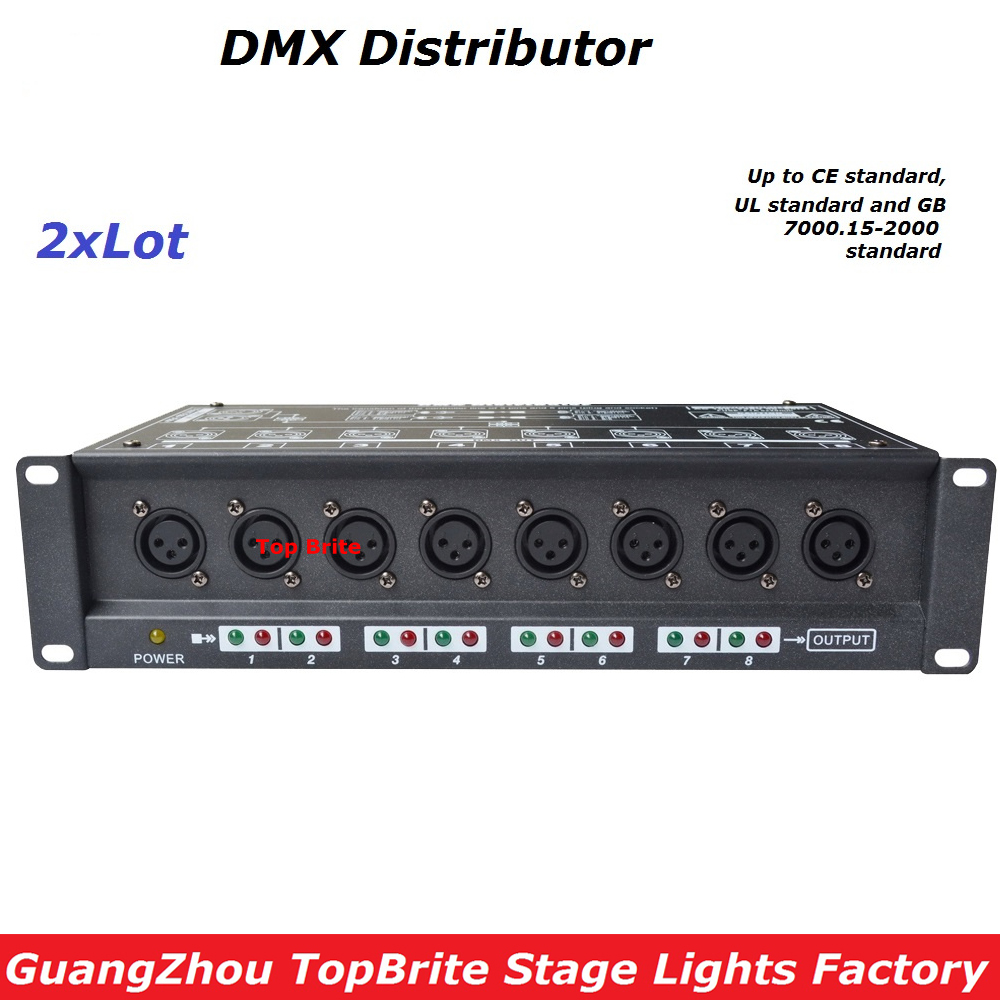 2XLot Free Shipping High Quality 8 Channel DMX Splitter DMX512 Light Stage Light Signal Amplifier Splitter 8 Way DMX Distributor dhl fedex free shipping best quality 8ch dmx splitter dmx512 light stage lights signal amplifier splitter 8 way dmx distributor