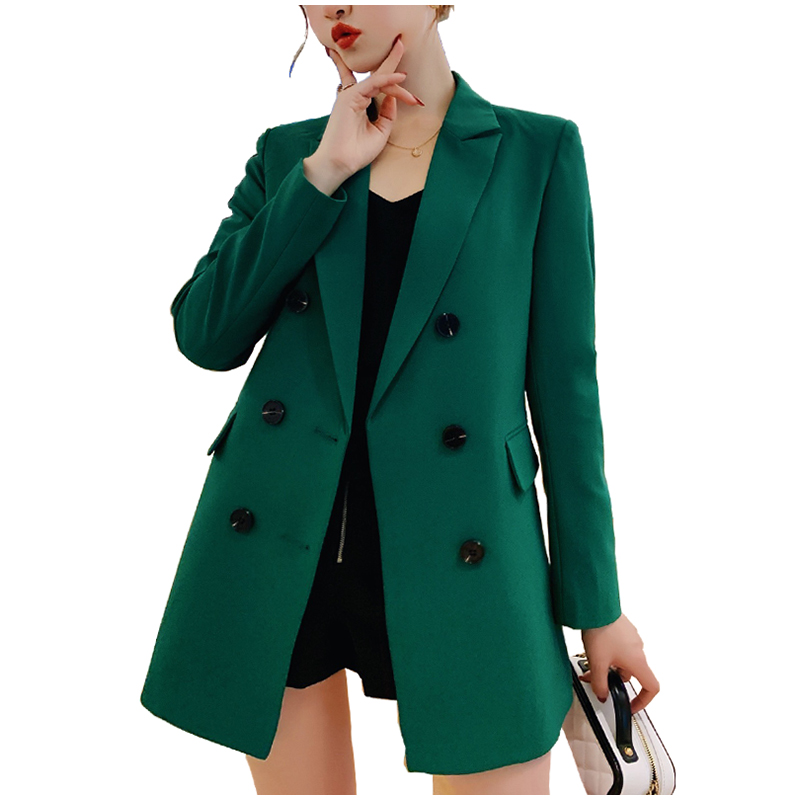 Double Breasted Spring Autumn Women Long Style Blazer And Jacket 2019 Slim Coat Green/black/navy Blue/blue Plus Size Outerwear