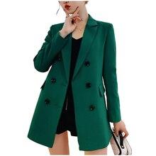 9a35b2162a561 Podwójne piersi wiosna jesień kobiety długi styl marynarka i kurtka 2019  szczupła płaszcz zielony/czarny