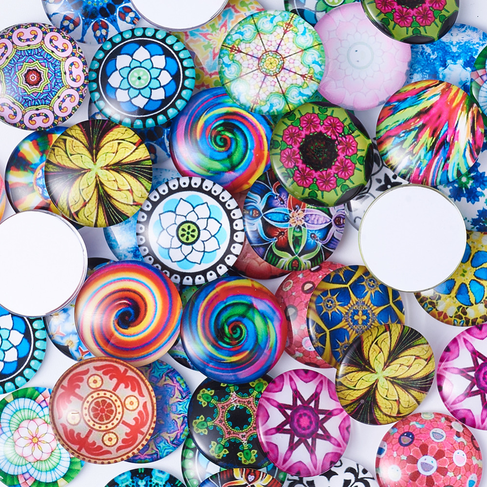 Image 3 - 200pc Mixed Color Mosaic Printed Glass Half Round/Dome Cabochons Jewelry Findings for DIY 10mm 12mm 14mm 16mm 18mm 20mm 25mm-in Jewelry Findings & Components from Jewelry & Accessories