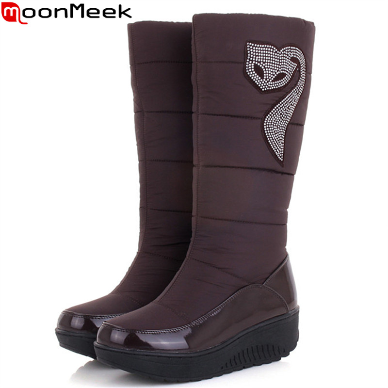 MoonMeek fashion new arrive women boots winter Down waterproof Keep warm snow boots round toe platform mid calf boots plus size eiswelt women mid calf boots winter snow boots warm round toe flat shoes female fashion lace up boots plus size zqs182 page 8