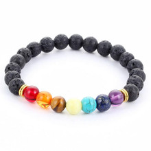 New 2016 Design Mens Bracelets Black Lava 7 Chakra Healing Balance Beads Bracelet For Men Women Rhinestone Reiki Prayer Stones