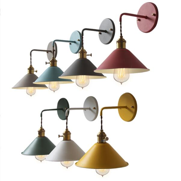 modern blue yellow iron single head wall light living room lamp aisle stairs bedroom bedside umbrella wall lamps ZA926017 special modern and simple mediterranean single head wall lamp bedroom bedside lamps living room dining villa club creative arts