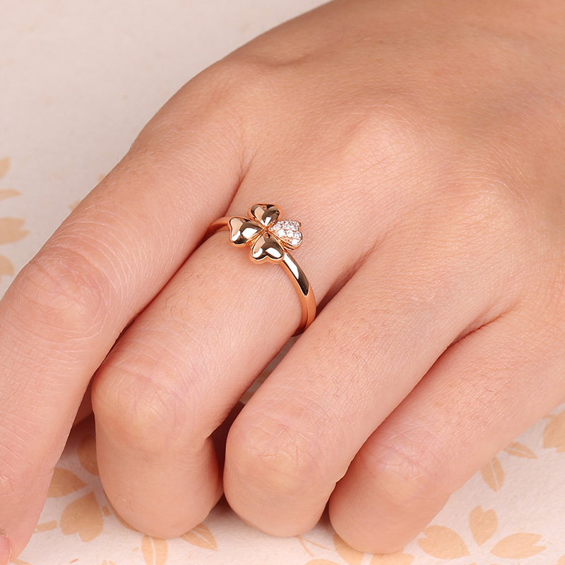 Robira Shiny Diamond Ring Midi Finger Ring Engagement Clover Wedding
