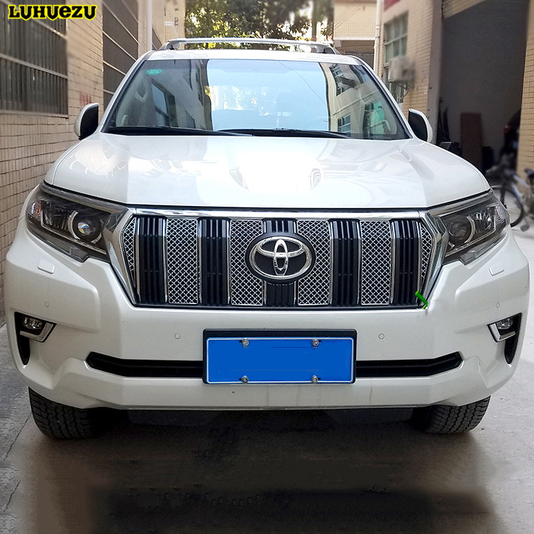Luhuezu Stainless Steel Front Grille Trims For Toyota Land Cruiser Prado LC150 Accessories  2018 car front bumper mesh grille around trim racing grills 2013 2016 for ford ecosport quality stainless steel