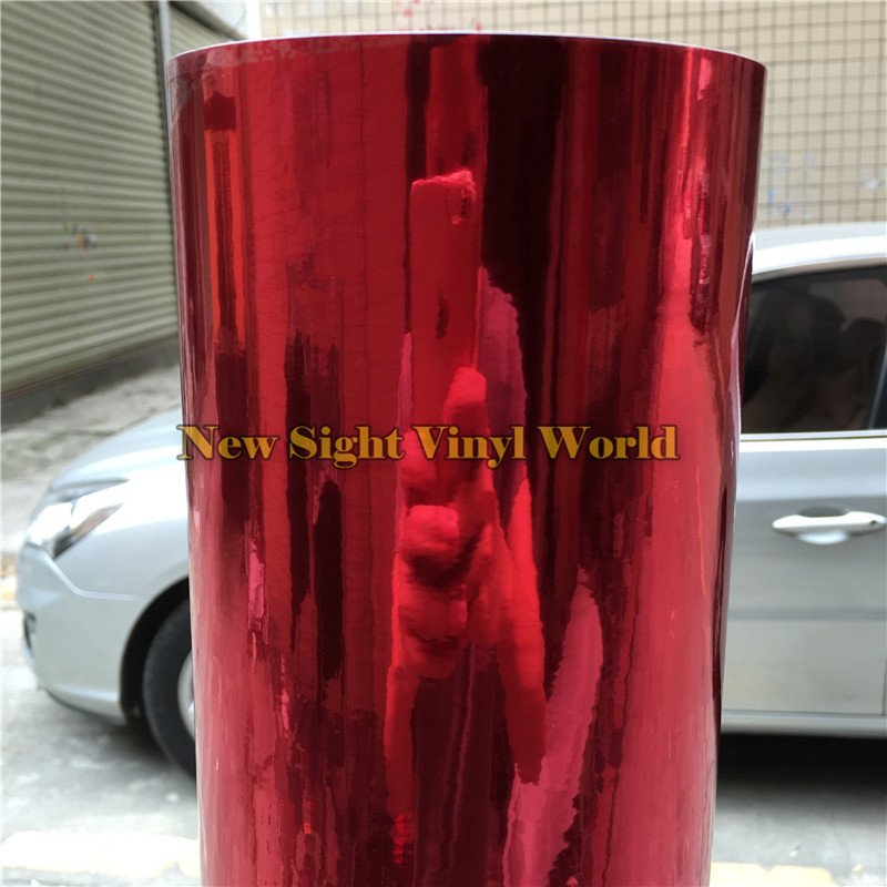Best Quality Flexible Chrome Red Vinyl Folie Car Wrap Film For Car Styling Bubble Free Size:1.52*20M/Roll (5ft x 65ft) the best quality 50pcs red female
