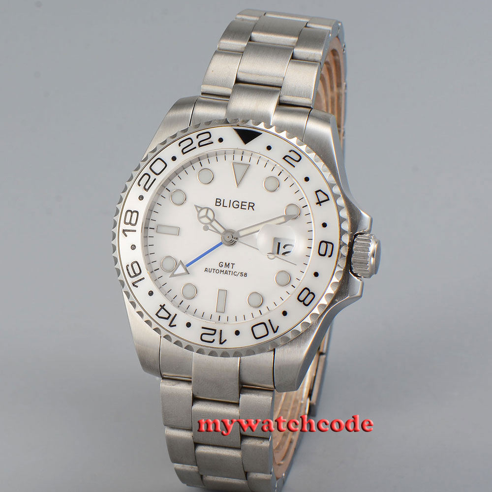 43mm bliger white dial date window GMT sapphire glass automatic mens watch P26B цена и фото