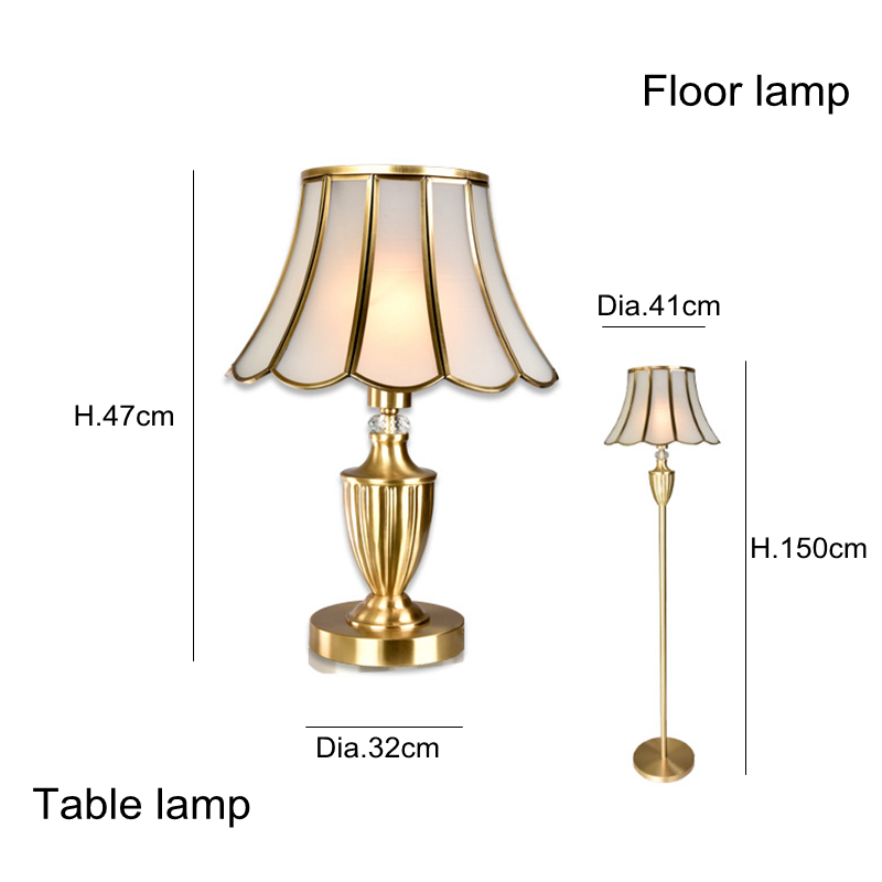 Classic Copper Floor Lamp table light Office Desk Bedroom Adjustable Direction Standing Lamp simple glass shade Home Lighting