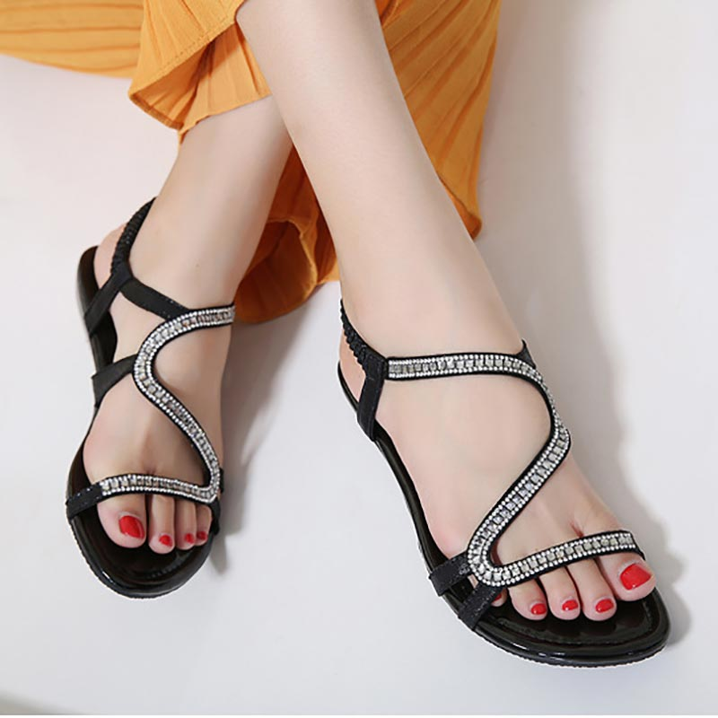 Wedges Women Sandals Elastic-Band Shoes Back-Strap Crystal Fashion Solid Casual Plus-Size
