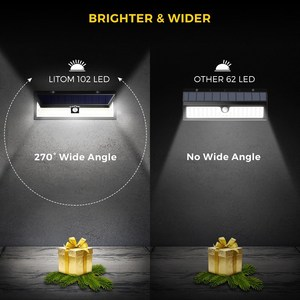 Image 4 - 2 แพ็ค LITOM 102 ไฟ LED พลังงานแสงอาทิตย์กลางแจ้ง Super Bright Motion Sensor ไฟรักษาความปลอดภัยโคมไฟติดผนังไร้สาย Luces Solares