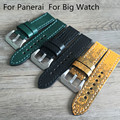 Handmade 22mm 24mm 26MM Vintage Yellow  Black Green Lizard Skin Leather Strap, Retro Watchband For Pam And Big Watch