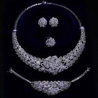 Дорогие роскошные большие 4 комплект ювелирных изделий для свадебной вечеринки ожерелье + серьги + браслет + кольцо Серебряная пластина боль
