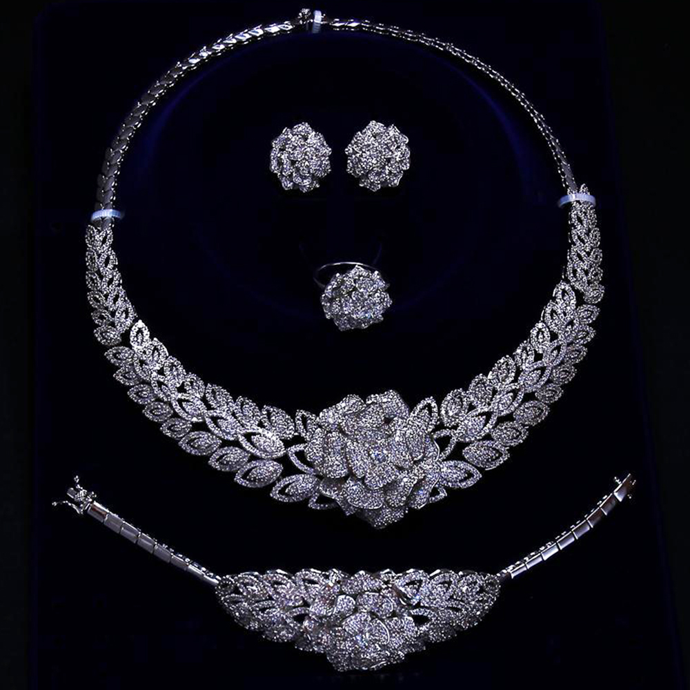 Expensive Luxury big 4pcs jewelry set for wedding party Necklace+Earrings+Bracelet+Ring silver plate large flower jewelry sets a suit of gorgeous rhinestoned flower necklace bracelet earrings and ring for women