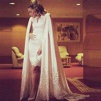 Moslemischer langer white lace meerjungfrau-formale abend-kleid cape türkisch arabisch abendkleider kleider für hochzeiten robe de soiree