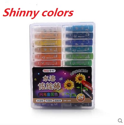 Maped color'pens Plastic Crayons with shinny colors effect watercolor 12/24 Set Color Pens oil paint stick colour pencil maped gom stick universal