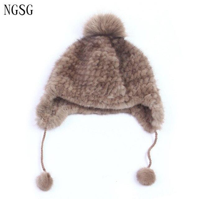 Hats for women female gorro rabbit fur knitted bonnets hat women' winter thermal  ear protector cap beanies toucas de inverno