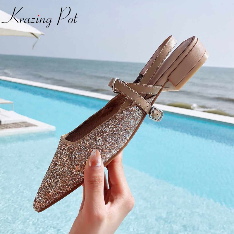 Krazing Pot sequined cloth bling natural skin European Summer pointed toe slingback superstar summer beach vacation