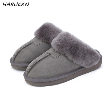 HABUCKN Natural Fur Slippers Fashion Female Winter  Slippers Women Warm Indoor Slippers Quality Soft Wool Lady Home Shoes