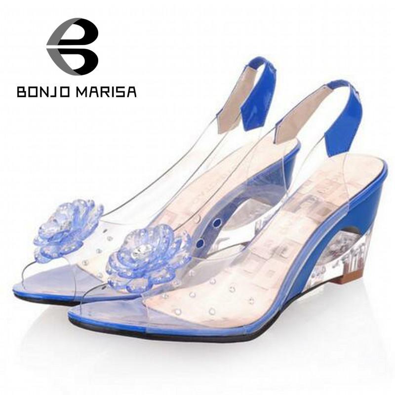 ФОТО BONJOMARISA Big Size 34-43 Factory Price Rome stylish high quality fashion wedge heel sandals dress casual shoes sandals XB140