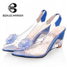 BONJOMARISA Grande Taille 34-43 Prix Usine Rome élégant mode de haute qualité talon compensé sandales robe casual chaussures sandales XB140
