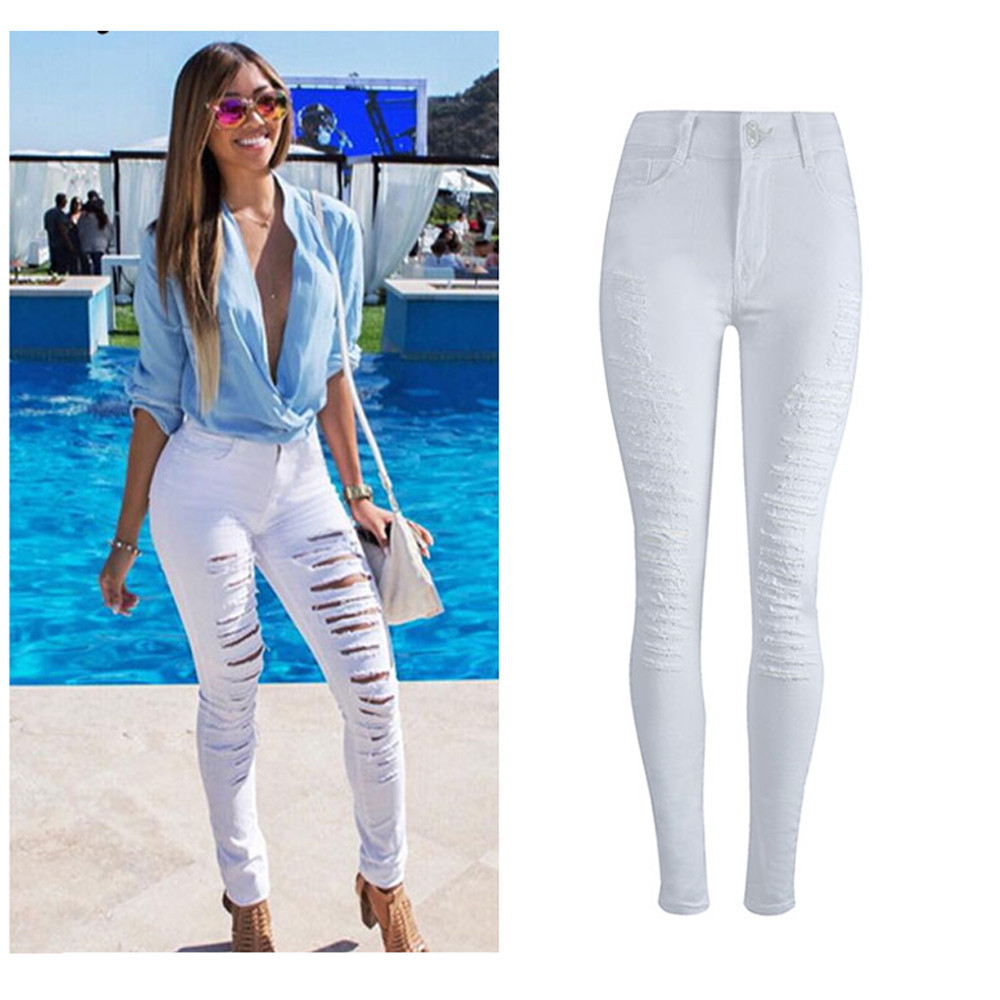 2017Fashion Women Jeans Skinny Pencil Hole Pants Ripped Denim High Waist Female Slim Trousers Summer Leggins Cotton High Elastic rosicil hot sale women jeans pencil pants fashion hole ripped femme denim pants skinny low waist female trousers sl028