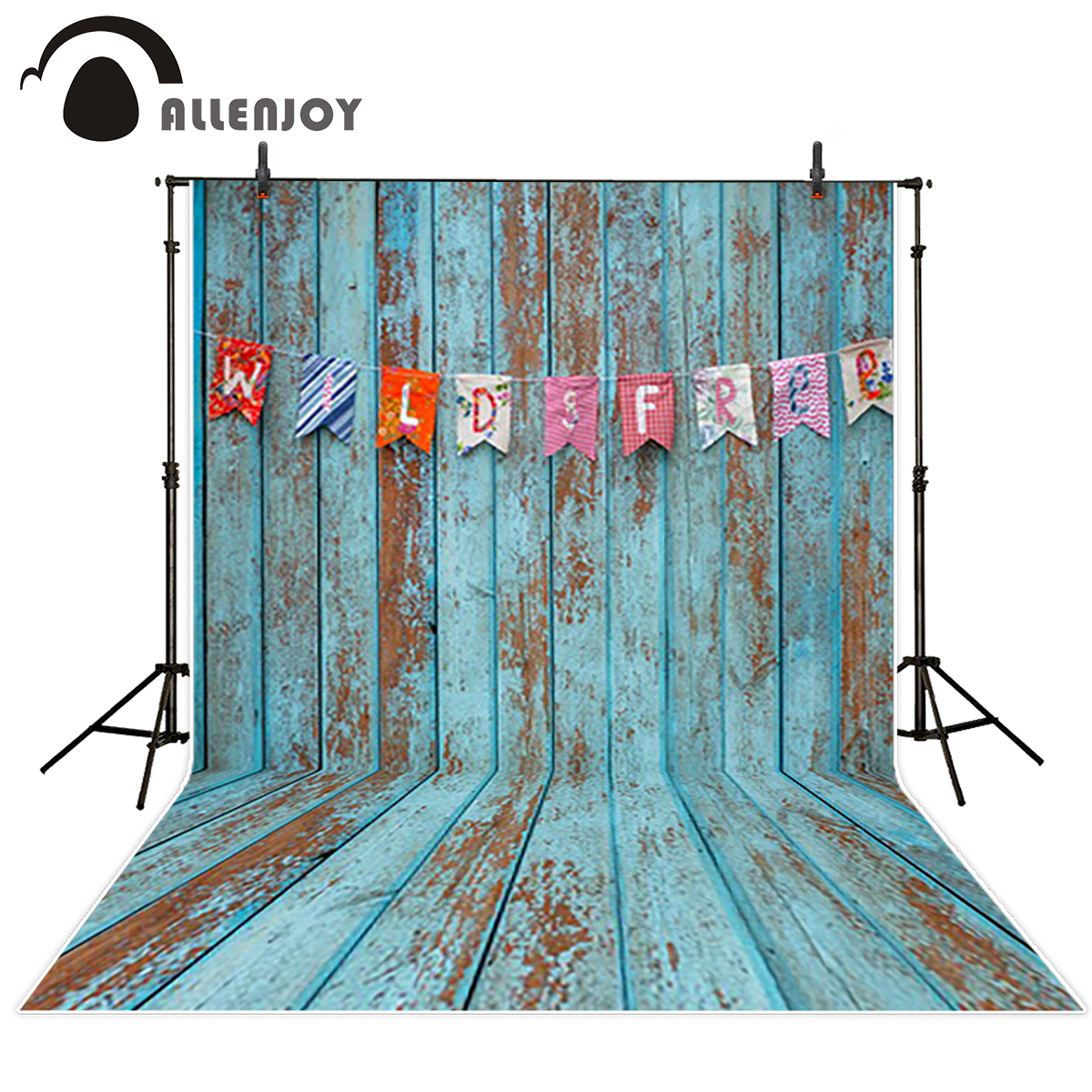 Allenjoy photo background Blue wood board vintage baby photo booth For a photo shoot vinyl backdrops for photography