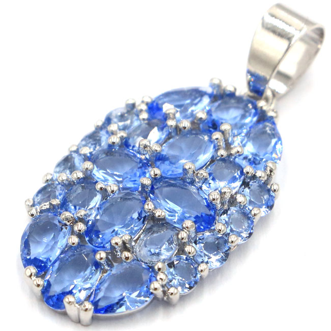 Stunning Rich Blue Violet Tanzanite White CZ Woman's Silver Pendant 36x17mm